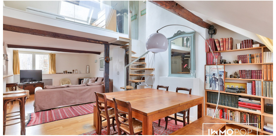 Appartement duplex Type 3 de 65 m² (carrez) soit  84 m² (au sol) à Paris 5ème