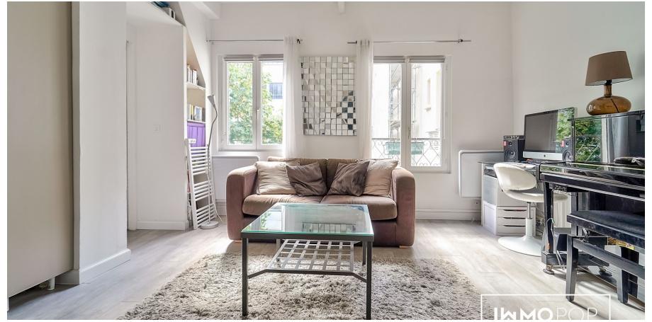 Appartement Type 1 de 27 m² (carrez) + cave à Paris 18ème